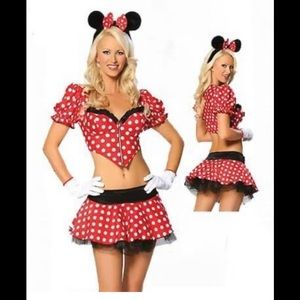 Sexy Red white polkadot Minnie Mouse Fancy Dress Costume size m